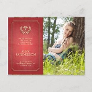 Red + Gold Medical School Graduation Announcement