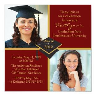Red & Gold Photo Graduation Invitation