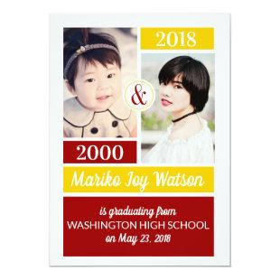 Red Gold School Colors Then and Now Graduation Invitation