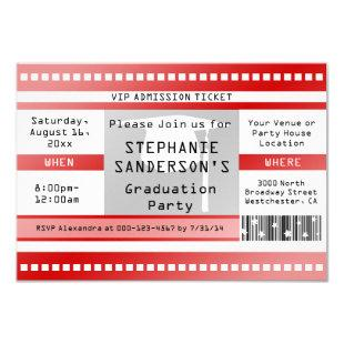 Red Graduation or Party Admission Ticket Invitation
