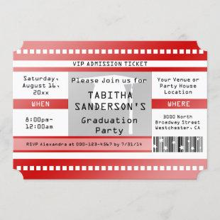 Red Graduation Party Admission Ticket Invitation