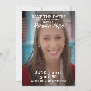 Red Graduation Party Save Date Photo Save The Date