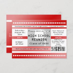 Red High School Class Reuinion Admission Ticket Invitation