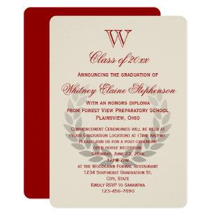 Red Letter Monogram Classic College Graduation Invitation