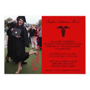 Red Medical RN School Graduation Announcement