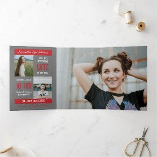Red Modern Block 5-Photo Graduation Tri-Fold Invitation
