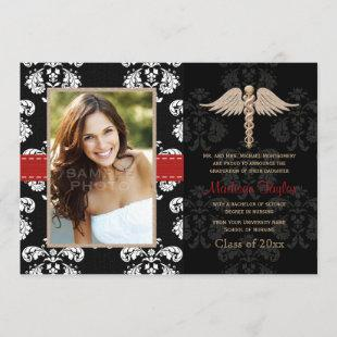 Red Nurse Graduation Announcements Invitations