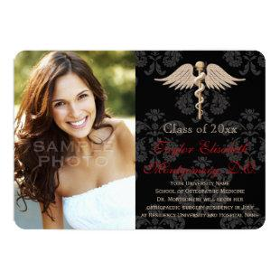 Red Osteopathic Medicine DO School Graduation Invitation