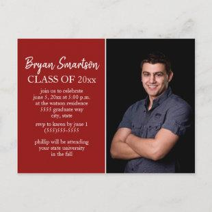 Red Personalized Photo Graduation Party Postcard