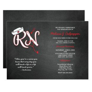 RED RN graduation nurse pinning ceremony invites