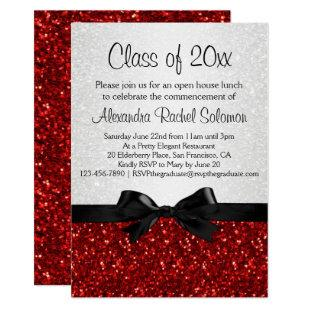 Red Sparkle-look Bow Graduation Invitation