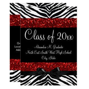 Red Sparkle Zebra Bow Graduation Invitation