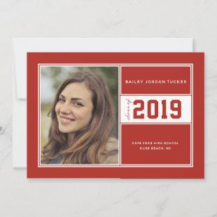 Red Sporty Class of Year Graduation Announcement