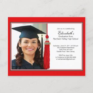 Red Tassel Photo Graduation Party Invitation 2012