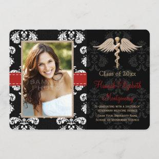 Red Veterinary Vet School Graduation Announcement