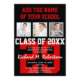 Red, White and Black School Colors Graduation Invitation