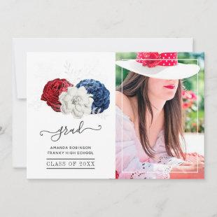 Red, White and Blue Floral Graduation Photo Announcement