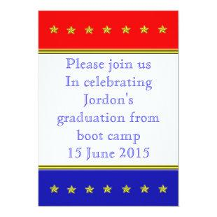 Red, white and blue graduation invitation