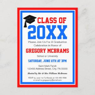Red White and Blue Graduation Party Invitation Postcard