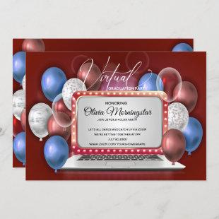 Red White and Blue Laptop Virtual Graduation Party Invitation