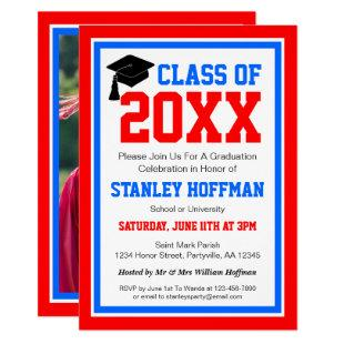 Red White and Blue Photo Graduation Party Invitation