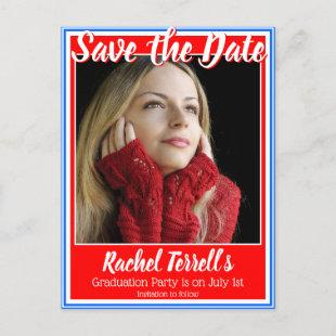 Red White and Blue Save the Date Graduation Announcement Postcard