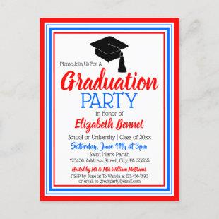 Red White and Blue School Colors Grad Party Invitation Postcard
