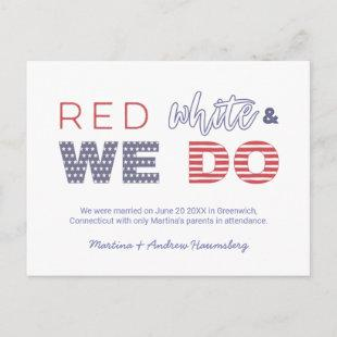 Red White And We Do We Got Married We Eloped Announcement Postcard