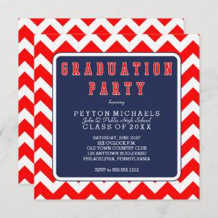 Red White Blue Sporty Chevrons Graduation Party Invitation