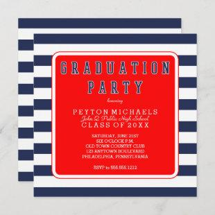 Red White Blue Sporty Striped Graduation Party Invitation