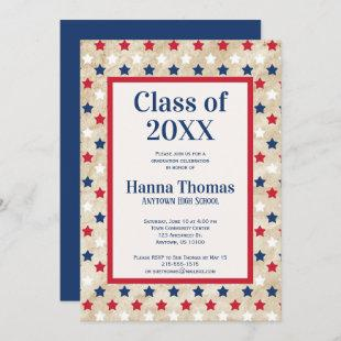 Red White Blue Stars US Military Graduation  Invit Invitation