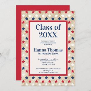 Red White Blue Stars US Military Graduation  Invitation