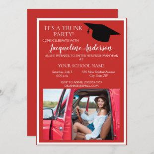 Red White Photo College Trunk Party Invitation