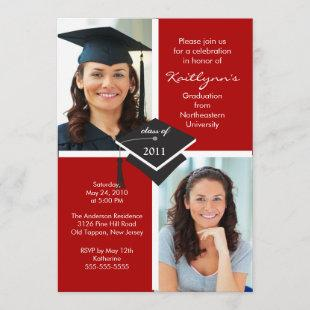 Red & White Photo Graduation Invitation