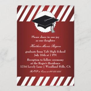 Red White Striped Graduation Inivitation Invitation