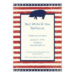Red, White & You 4th July Barbecue Bday Invitation
