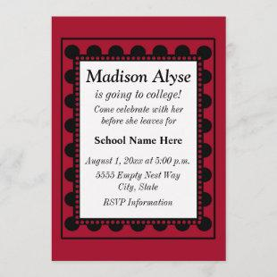 Red with Black Dots Off To College Invite