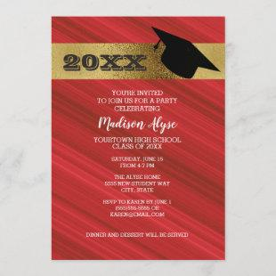 Red with Gold and Graduation Cap Party Invitation