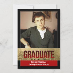 Red with Gold Foil Block Effect Photo Graduation Invitation