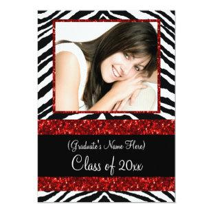 Red Zebra Sparkle Girls Graduation Party Invitation