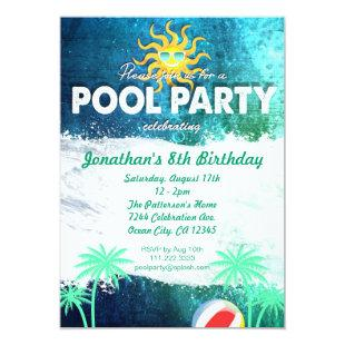 Refreshing Pool Party Birthday Invitation