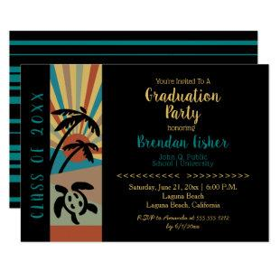 Retro Beach Sunset Scene Graduation Party Invitation