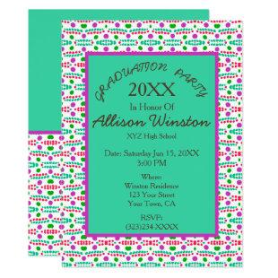 Retro Dots Pattern Green Pink Teal Graduation Invitation