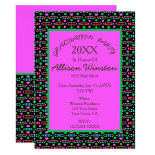 Retro Dots Pattern Pink Green Graduation Invitation