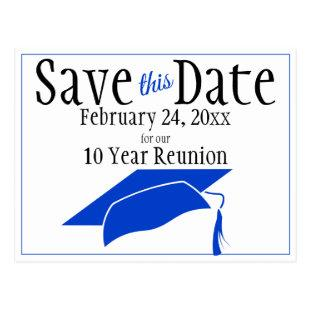 Reunion Class Save The Date Blue Graduation Cap Postcard