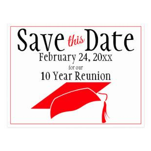 Reunion Class Save The Date Red Graduation Cap Postcard