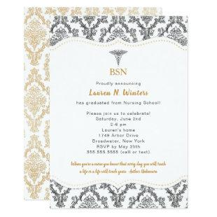 RN Black Gold Damask Nurse graduation party Invitation