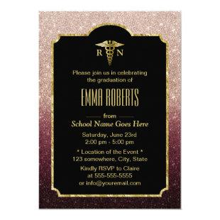 RN Nurse Graduation Modern Burgundy Rose Gold Invitation