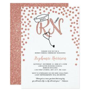 RN nurse graduation rose gold confetti pinning Invitation