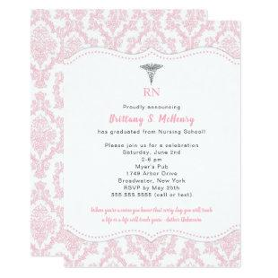 RN Pink Damask Nursing school graduation party Invitation